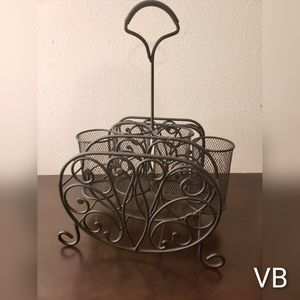Wrought Iron Plate And Utensil Serving Basket.